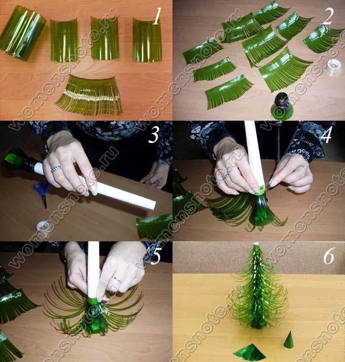 Как сделать елку новогоднюю из бутылки