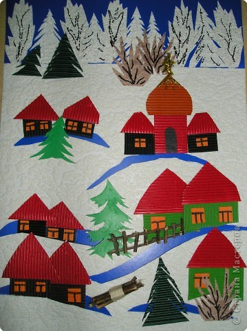 Зимний пейзаж аппликация из цветной бумаги